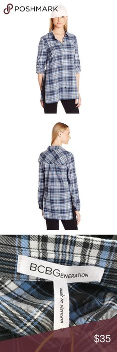 🎉 SALE NWT BCBGeneration Blue & Gray Plaid Shirt Beautiful blue and gray bcbg nwt plaid top! Message with any questions. Comes from a smoke free home with fast shipping! BCBGeneration Tops Button Down Shirts