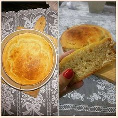 """Parece bolo mas é pão caseiro!  É uma receita diferente simples daquelas que você não dá nada por ela e fica com gostinho daqueles """"pães de leite de forma"""" sabe?? Só que muito mais saboroso.   #Receita Ingredientes: 100ml de óleo; 2 ovos; 1 e 1/4 xíc de leite morno 1 Saché de fermento biológico seco (para pão) 3 xíc (chá) de trigo 2 c. sopa de açúcar 2 c.chá de sal Preparo: Amorne o leite (não deixe ferver). Bata no liquidificador o óleo os ovos o leite e o fermento até homogeneizar. Numa…"""