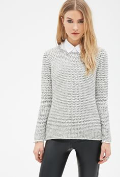 Marled Purl-Stitched Sweater