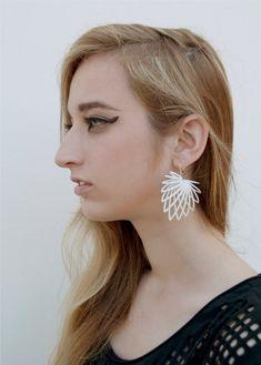 3D printed earrings 'Hollow Leaf' by IrisVanHulst on Etsy
