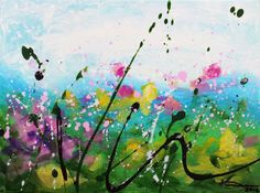 """Garden Party  Acrylic painting on a stretched canvas.  Size: 9 x 11 x .5""""  Staple free sides of the canvas are painted in black. Varnished with satin finish clear coating to preserve pigments..."""