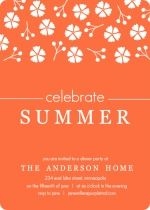 Tangerine and White Floral Summer Party Invite