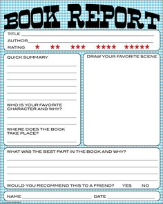 Free Printable Kids Book Report Worksheet
