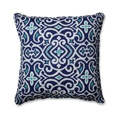 Outdoor/Indoor New Damask Marine Floor Pillow ($47) ❤ liked on Polyvore featuring home, home decor, throw pillows, blue, outdoor toss pillows, blue outdoor throw pillows, target outdoor throw pillows, target throw pillows and blue accent pillows