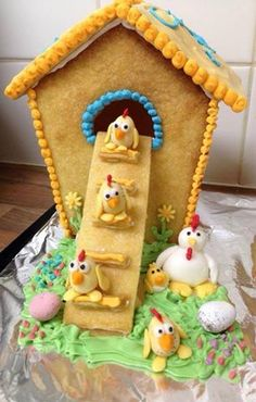 GINGERBREAD HOUSE~Chicken/chicks gingerbread house