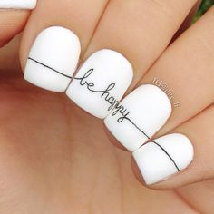 21 chic white acrylic nails to copy - nail design & nai .- 21 Send white acrylic nails to copy # acrylic nail # copy # send - Minimalist Nails, White Acrylic Nails, Matte White Nails, Nagellack Trends, Happy Nails, Cute Nail Art, Nagel Gel, Creative Nails, Nail Tutorials