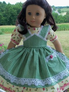 PDF Sewing Pattern fits American Girl Doll Marie Grace, Addy or Caroline: Apron Gown/ Farmcookies Pattern for 18 Dolls American Girl Doll Shoes, American Doll Clothes, Ag Doll Clothes, Gown Pattern, Doll Dress Patterns, Sewing Patterns Girls, Pattern Sewing, Girl Dolls, Creations