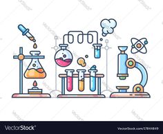 "Buy the royalty-free Stock vector ""Chemical scientific experiment. Beakers and test tubes for laboratory. Chemistry Drawing, Chemistry Art, Organic Chemistry, Outline Illustration, Science Illustration, Science Icons, Science Art, Science Doodles, Life Science"