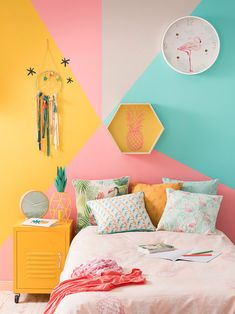 70 Amazing Colorful Bedroom Decor Ideas And Remodel for Summer Project 15 – Home Design Bedroom Wall, Girls Bedroom, Bedroom Decor, Bedroom Ideas, Kid Bedrooms, Master Bedroom, Tropical Bedrooms, Farmhouse Wall Decor, Design Your Home