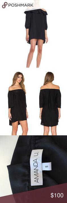 Authentic Amanda Uprichard Joanna Black Dress Cuffed sleeves off the shoulder dress. 100% Polyester Amanda Uprichard Dresses Strapless