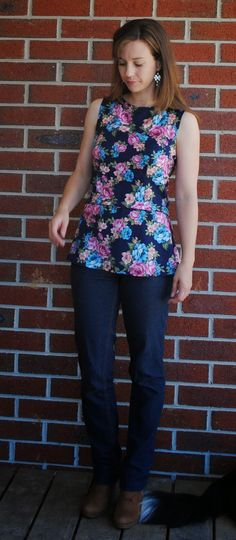 One Small Stitch: Complete: Kanerva Blouses. I like the peplum style with this fabric print.