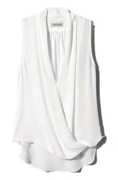 White V Neck Sleeveless Asymmetrical Chiffon Blouse