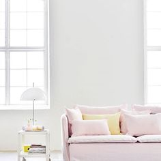 Pearly pink adds softness to this contemporary, urban setting | How fab is our new Loose Fit for the #IKEA Söderhamn sofa?! 🌙 #BemzDesign