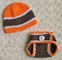 NFL 0-3 m Cleveland Browns Football Team Crochet Set Hat & Diaper Cover #OhsoKnotty