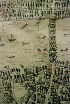 OK, it is very difficult to find a picture of London Bridge, because Tower Bridge keeps popping up, so I used this Old Street Plan of London Bridge showing both sides of the river Pre Great fire of London of 1666 - Courtesy Peter Roberts. Uk History, London History, British History, Asian History, Tudor History, History Facts, Great Fire Of London, The Great Fire, Victorian London