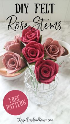 How to make beautiful and simple DIY felt rose stems. Rolled rose flower tutorials. Free printable pattern for felt roses. Easy felt flower DIY. It takes just a few minutes to make a gorgeous felt flower stem to use in a bouquet or decor.