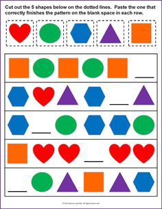 Shapes Worksheets For Kids Pattern. Also see the category to . Pattern Worksheets For Kindergarten, Patterning Kindergarten, Teaching Patterns, Math Patterns, Shapes Worksheets, Kindergarten Worksheets, Shape Patterns, Kindergarten Goals, Number Worksheets