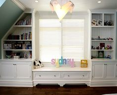 Built In Bookcases Around Window Shelves Attic Library Playroom