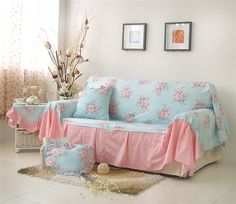 MK Korean universal sofa cover Cotton Reactive printing sofa cover cushion cover ADLN flower couch cover Sofa towel home textile
