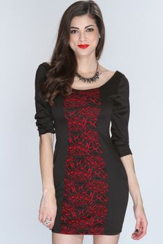 This one of a kind classy dress is a must have this season! You will look elegant and sophisticated in this dress. You sure wont get lost in the crowd when you step in this dress! It features floral knitted mesh overlay, scoop neck, quarter sleeves, scoop back, and fitted. 86% Polyester 10.5% Rayon 3.5% Polyester. Made in USA.