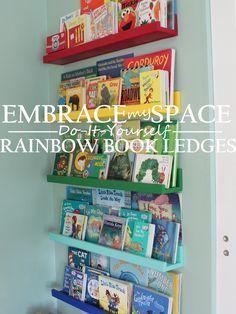 diy rainbow book ledges for children s books, organizing, shelving ideas, wall decor Rainbow Bedroom, Rainbow Nursery, Rainbow Baby, Book Ledge, Old Bookcase, Library Wall, Book Organization, Organizing Books, Home Decor
