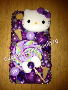Purple Hello Kitty Lollipop Iphone 4/4s phone case. $50.00, via Etsy. So cute and can be made for any phone model!