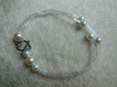 Elegant and Simple White Pearl Bracelet with Heart Clasp by handmadejewelrybypam on Etsy