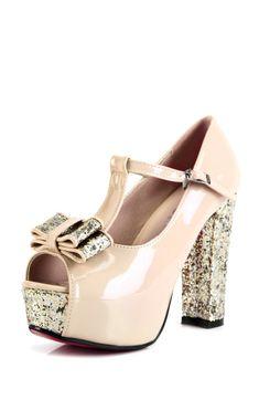 Blush glitter mary janes