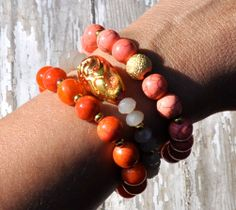 Pink and Coral Orange Beaded Bracelets / Stacked by BeadRustic