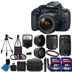 Canon EOS Rebel T5 18MP EF-S Digital SLR Camera USA warranty with canon EF-S 18-55mm f/3.5-5.6 IS [Image Stabilizer] II Zoom Lens & EF 75-300mm f/4-5.6 III Telephoto Zoom Lens + 58mm 2x Professional Lens +High Definition 58mm Wide Angle Lens + Auto Power Flash + UV Filter Kit with 24GB Complete Deluxe Accessory Bundle   Your #1 Source for Camera, Photo & Video