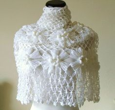 White Shawl  Bride Accessories  Poncho by MODAcrochet on Etsy, $55.00