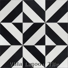 """""""Diagonal Four A"""" Cement Tile, from Villa Lagoon Tile. https://www.villalagoontile.com/diagonal-four-a-black-and-white-cement-tile.html"""