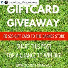 Make sure you are checking in with @carrollton_office_express for a chance to win a gift card to @thebarnesstore!  The winner will be picked THIS Friday! Share away! #visitcarrollton #carrolltonga #shoplocal