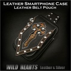Leather Smartphone Case Mini Waist Pouch Cross Python WILD HEARTS Leather&Silver http://item.rakuten.co.jp/auc-wildhearts/ic2409b46/