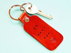Looking for an inspirational gift? This Do What You Love keychain is handmade from premium quality leather and has individually hand-stamped lettering and a heart. Leather Bookmark, Leather Keyring, Leather Gifts, Leather Craft, Handmade Leather, Best Friend Gifts, Gifts For Friends, Gifts For Him, Motivational Gifts