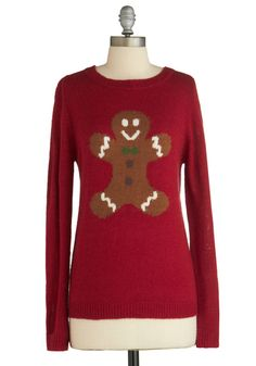 Can't Catch Me Sweater by Louche - Red, Novelty Print, Holiday, Long Sleeve, Winter, Knitted, Mid-length