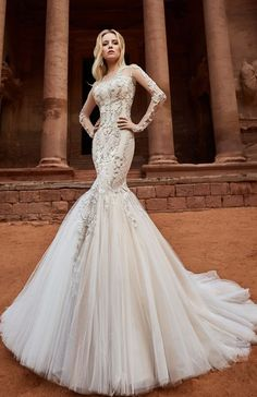 Featured Dress: Oksana Mukha; www.oksana-mukha.com; Wedding dress idea.