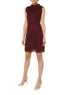 0c9b5331602358 Ted Baker Latoya jurk van kant met hooggesloten halslijn • de Bijenkorf