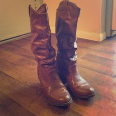 Brown cowboy boots!!! Fun and flirty cowboy boots that have cinching at base of boot for cute style Shoes Heeled Boots