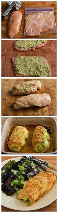 Baked chicken stuffed with pesto and cheese (Frango assado recheado com pesto e queijo) New Recipes, Cooking Recipes, Favorite Recipes, Healthy Recipes, Recipies, Protein Recipes, Healthy Meals, Gourmet Recipes, I Love Food