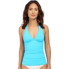 Tommy Bahama Pearl Solids Halter Cup Long Tankini (Island Blue)... ($50) ❤ liked on Polyvore featuring swimwear, bikinis, bikini tops, blue, ruched one piece bathing suit, long bikini top, tommy bahama tankini, tankini swimwear and 1 piece swimsuit