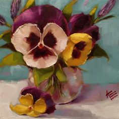 "Daily Paintworks - ""Pansies & Lavender"" - Original Fine Art for Sale - © Krista Eaton"