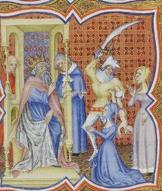 dem hats. --- BNF Français 20090. Bible Historiale de Jean de Berry. Folio     290r. 1380-1390. Paris, France.