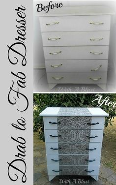 Out with the old 90's look and in with Fab-ness ! #Makeover #DresserMakeover #LeftoverWallPaper #Upcycling