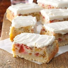 Rhubarb Custard Bars Recipe -shortbread-like crust and rhubarb and custard layers (try with other fruit) -Shari Roach, South Milwaukee, Wisconsin Rhubarb Desserts, Cookie Desserts, Just Desserts, Cookie Recipes, Delicious Desserts, Dessert Recipes, Rhubarb Rhubarb, Rhubarb Recipes Cream Cheese, Frozen Rhubarb Recipes