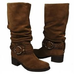 Western cut with multiple strapping and buckles for a super stylish look.And the slouchy boot shaft is gorgeous.