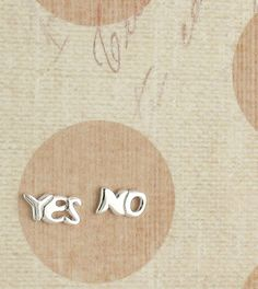 Have a conversation without words when you wear these cute  yes/no silver earrings!...pinned by ♥ wootandhammy.com, thoughtful jewelry.