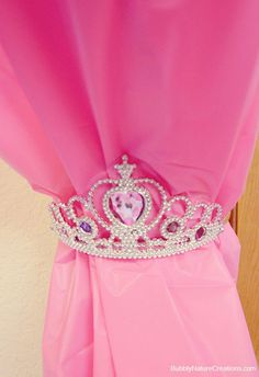 Girls Bedroom Ideas ~ Use a tiara as a curtain tie back