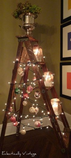 Ladder Christmas Tree Now all I need to find is an old ladder Ladder Christmas Tree, Christmas Love, Christmas Balls, Winter Christmas, All Things Christmas, Christmas Lights, Christmas Crafts, Outdoor Christmas, Country Christmas