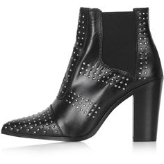 TOPSHOP MONOSTUDS Pinstud Boots ($155) ❤ liked on Polyvore featuring shoes, boots, black, leather boots, black pointed toe boots, beatle boots, black leather shoes and black shoes